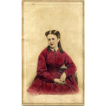 CDV of Woman in a Scarlet Dress – Brady's National Portrait Gallery (now identified after 4 years!)