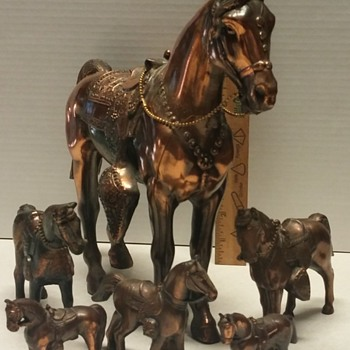 6 Copper Metal Horse Figures, Western Saddle Carnival Prizes