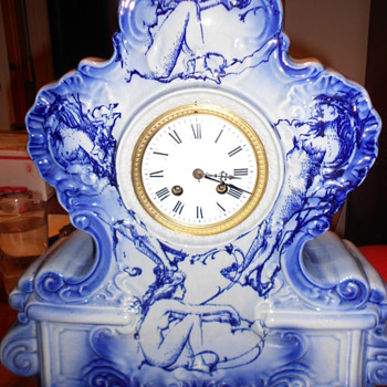 large porcelain NUDE clock (French?) - Clocks