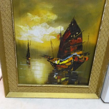SHIP OIL PAINTING - Visual Art