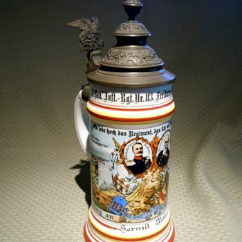 Reservist's stein of Hornist (Trumpeter) Mohr, who bugled for the 5th Baden Infantry, 113th Regiment, 9th Company - Breweriana