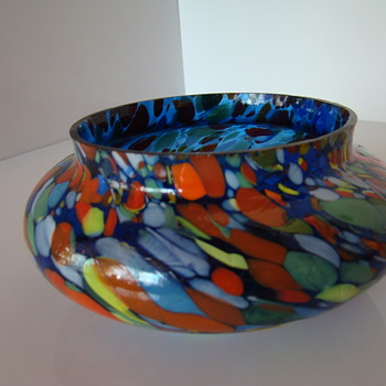 Bohemian spatter glass bowl