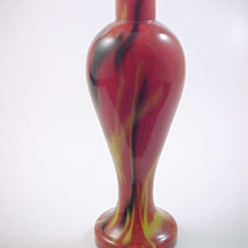 Czech Art Deco Export Red Yellow Black Cased Spatter Peloton Glass Perfume Bottle / Vase