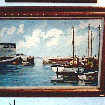 Two Mid-Century Oils on Canvas / Harbor Scenes with Boats / Circa 1960's 70's - Visual Art