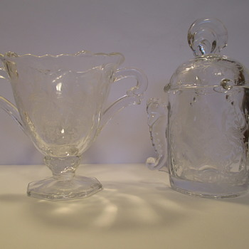Heisey Sugar Bowl & Jar, both with Orchid pattern.