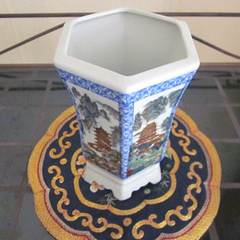 Chinese Rectangular Vase Pot 6 paneled 6 footed