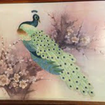 Peacock Embroidery framed picture