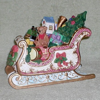 Porcelain Sleigh with Toys Figurine - Christmas