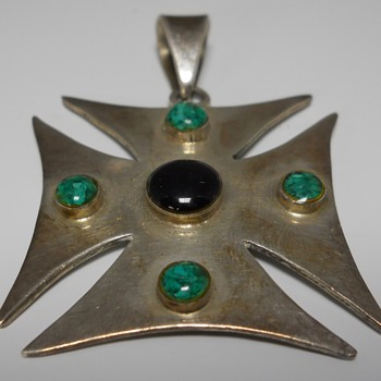"Mexican jewelry"" Cross"" Pendant, 20 Century"