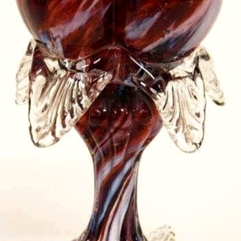 Antonin Rückl & Sons / Ruckl Bohemian Tri-lobed Heart Shaped Vase, Red Lined Glass with Oxblood Red & White Spatter Decor - Art Glass