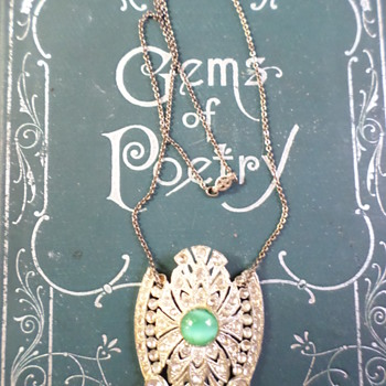 Beautiful Art Deco? Pendant with Green Stone, Sterling Necklace