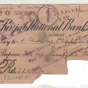 Old 1943 Punjab National Bank Limited Rs 22100 Rupees Two Lac Twenty one thousand Cheque
