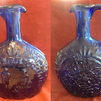 Blue handled Bottle/Decanter
