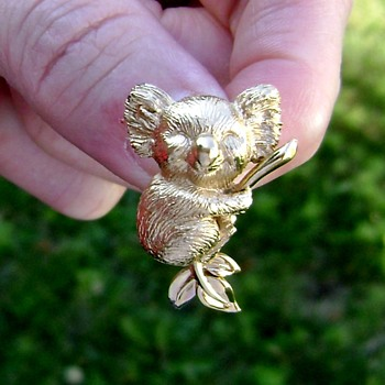 Trifari Koala Brooch - Costume Jewelry