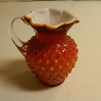 FENTON SAMPLE MILK PITCHER IN ORANGE/RED HOBNAIL OVERLAY ONE OF A KIND!