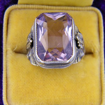 Antique Victorian Amethyst &quot;Rose De France&quot; Sterling Ring  - Fine Jewelry
