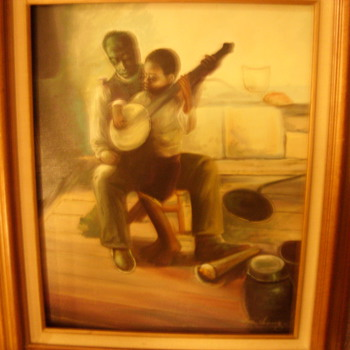 early black man and boy playing banjo -oil painting by dong