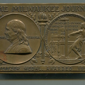 Milwaukee Journal Pulitzer Prize Brass Paper Weight - Paper