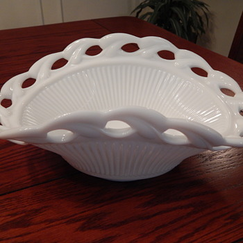 Fostoria large milk glass basket