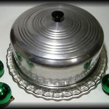 Aluminum Metal Cake Carrier Saver  - Mid-Century Modern