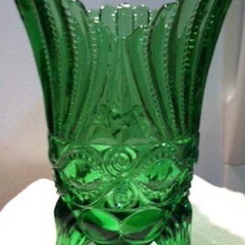 Green Footed Vase-Pressed Glass