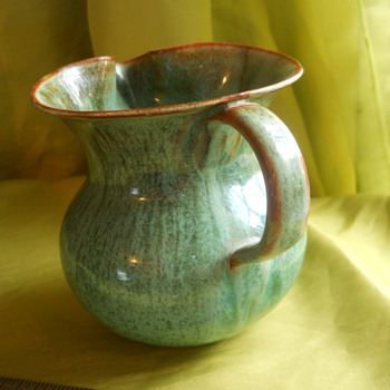"4"" TALL HANDBLOWN GREEN GLASS CREAMER - Art Glass"
