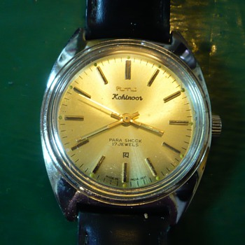1970s Indian HMT Kohinoor with gold dial and C case