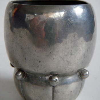 Vintage Pewter Cup~Fascinating Shape~Signed RL, TIN~Any Guesses? - Arts and Crafts