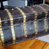 Antique Jenny Lind leather trunk