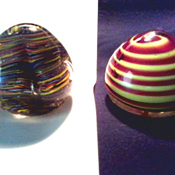 Pair of Murano Paperweights / One Labeled Venetian Glass / Unknown Age - Art Glass