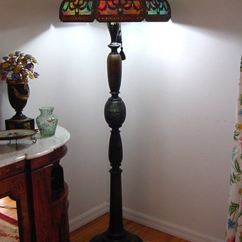 Antique Tiffany Floor Lamp w Japanned Wood Base - Lamps
