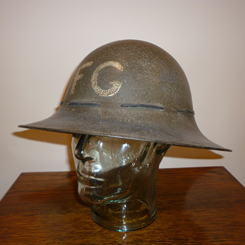 British WWII Civil Defence Fire Guard steel helmet. - Military and Wartime
