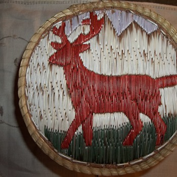 Native American Mule Deer or Moose Lidded Quill Box