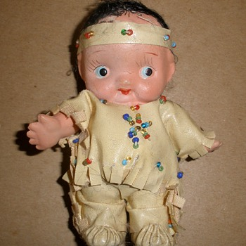 Funny Little Indian Papoose Kewpie Japan BisqueCeramic - Dolls