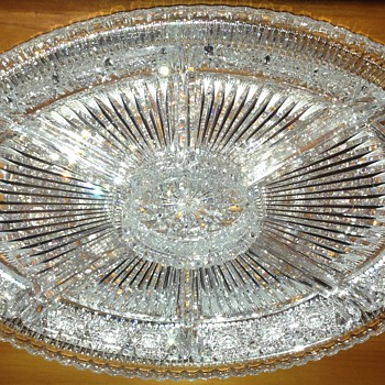 Museum Quality Brilliant Cut Crystal or Glass Relish Tray