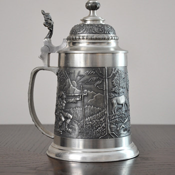 Pewter German Beer Stein With Lid and Touchmarks - Breweriana