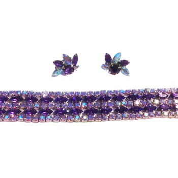 Sherman Signed Purple Bracelet With Pair of Earrings