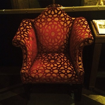 Tuxedo chair; NYC hotel lobby chair