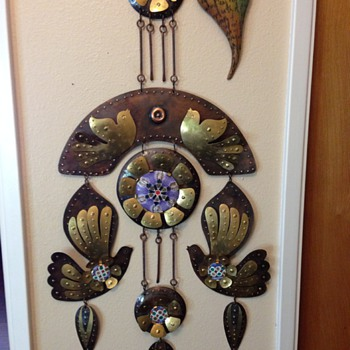 Copper/brass/enamel  wall hanging/ mobile - Mid-Century Modern