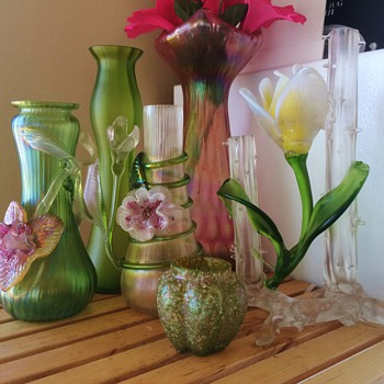 Kralik Flower Friends & Rindskop Iridescent Vases - Art Glass
