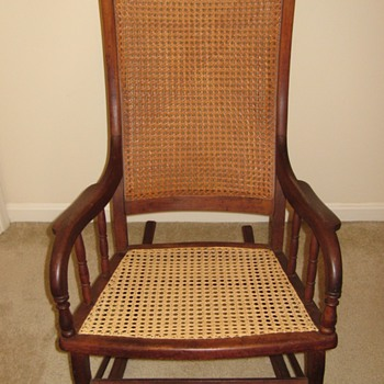 Big wood and cane rocking chair