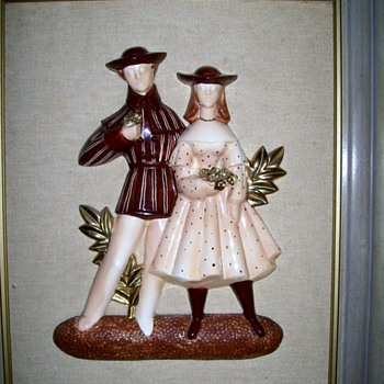 Two Large Porcelain Figure Picture . 3 D Circa 1940's ?