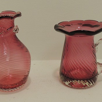 2 Small Cranberry Glass Pieces - Hand Blown - Glassware