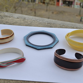 Lea Stein Bangles, Earrings, Hair-barettes and Buttons