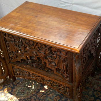 Handcrafted exquisite walnut center table of Thai origin