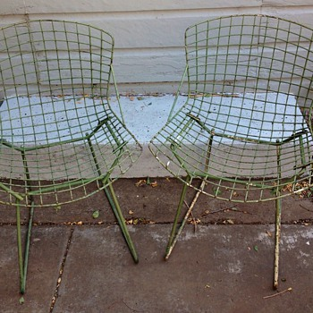 2 Authentic Knoll Bertoia Side Chairs Green Mid Century Modern - Mid-Century Modern