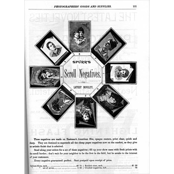 Scroll  & Border Negative (Photographic Imaging) Advertisements. 1888 & 1896