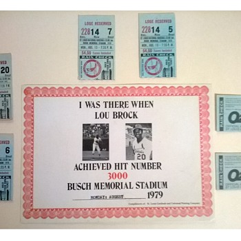 Lou Brock 3000th Base Hit Certificate and Ticket Stubs