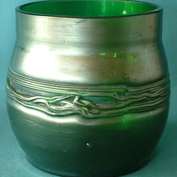Art Nouveau Style Green Iridescent Flower Vase