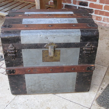 Small Zinc Covered Trunk with Brass Lock